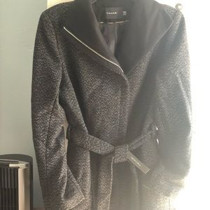 Tahari tweed black/gray womens coat SZ XL
